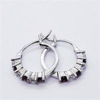 Silver Natural Garnet  Earrings (223 - JT79)