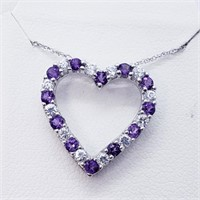 Silver Heart Shaped Amethyst  Necklace (224 -