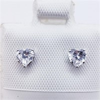 14K White Gold Cubic Zirconia  Earrings, Made in