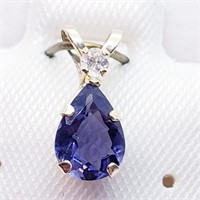 10K Yellow Gold Iolite(0.5ct)  Pendant, Made in