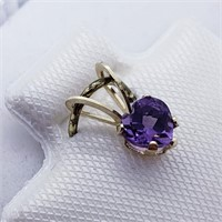 14K Yellow Gold Amethyst  Pendant, Made in Canada