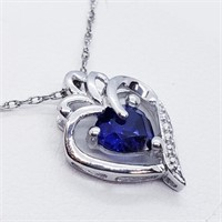 Silver Created Sapphire  Necklace (239 - JT79)