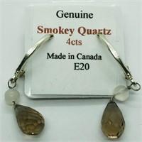 Silver Smokey Quartz  Earrings, Made in Canada