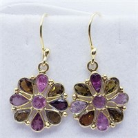 Gold Plated Silver Tourmaline   Earrings (245 -