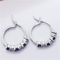 Silver Natural Amethyst And Cz Hoop  Earrings