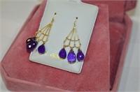14k Gold Amethyst Earrings - Made in Canada  (D2)