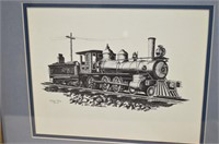 Pair of Doug Tope Locomotives, Framed