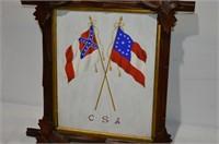 "Framed Confederate Flag, 15"" x 13"""