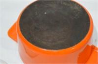 Cast Iron Enamel Lidded Pot and Tray