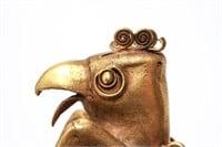 Pre-Columbian Gold Sinu Large Bird Finial on Tube