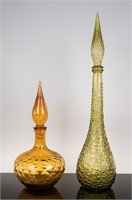 Amber and Green Italian Glass Decanters