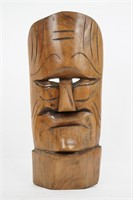 Male Carved Wood Hanging Face Mask