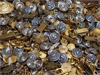 Large lot of vintage military buttons and pins