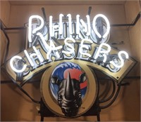 Advertisement Rhino Chasers neon sign