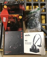 Lot of wireless and wired headsets