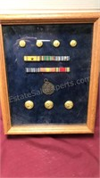 Collection of Military Medals In shadowbox 9x11""