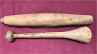 "2pcs Antique Wooden Pestles 13 1/2 and 11 1/2"""