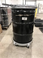55 gal. Black Steel Open Head Transport Drum On