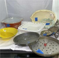 Milk Glass Tray and Misc. Baking Sheets