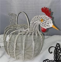 Retro Wire Sconce, Wire Chicken, and Wicker Basket
