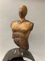 Artisan Art Piece-Wooden Bust on Metal Base