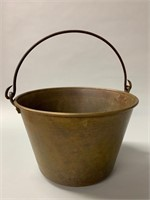 Antique Brass Pail with Blacksmith Forged Handle