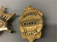 Pair of Marshal and Burn Security Badges