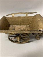 """17"""" Antique Brass Horse and Cart"""