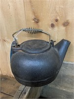 Wooden Box and Cast Iron Kettle