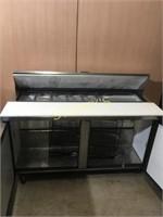 True 5' Mega Top Refrigerated Prep Table on Wheels