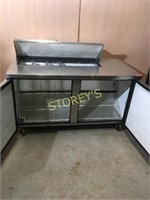 True 5' Refrigerated Prep Table on Wheels