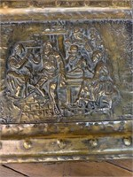 Early Brass Hammered Fireplace Box