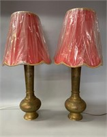 Pair of Stunning Brass Decorated Table Lamps