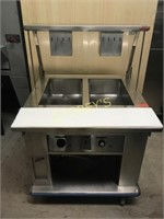 2 Well Steam Table on Wheels / Sneeze Guard