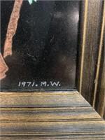 Blue Bird Painting Signed M.W. 1971