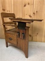 Early Oak School Desk with Flip Top