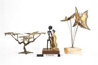 Lot of Brutalist Tabletop Metal Sculptures