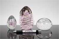 Lot of Glass Spiral Art Paperweights