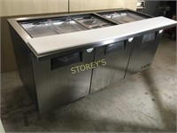 True 6' Refrigerated Prep Table on Wheels