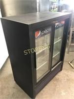 True Dbl Sided Glass Sliding Reach-In Cooler