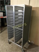 Dbl Sided Mobile Tray Rack - 33 x 24 x 70