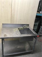 S/S Table w/ Sink & Backsplash - 48 x 33 x 36