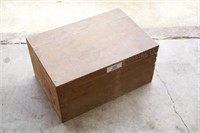 Wooden Crate w/ 7pc Sad Irons & Handles