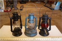 "3pc 12"" Vintage Oil Lanterns"