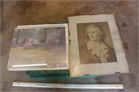 3pc Vintage Prints & Frame
