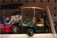 4WD on trailer & 2 golf carts (1 made by Nylint)