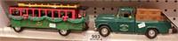 Chevy pickup & John Deere trolley bus