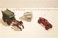 Cast toys -circus wagon, auto racer & wagon 3pcs