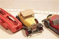 Hubley pickup, transport, coupe & roadster  (4pcs)