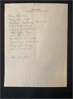 Steinbeck Guest List Handwritten by John